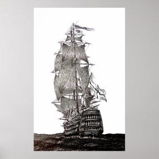 Galleons Federzeichnen in Schwarzweiss Poster