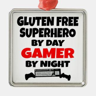 Gamer-Gluten geben Superhelden frei Quadratisches Silberfarbenes Ornament