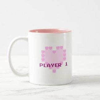 Gamers in der Liebe - Spieler 1 Zweifarbige Tasse