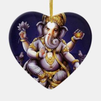 Ganesh Ganesha asiatischer Elefant-Gottheit Keramik Herz-Ornament