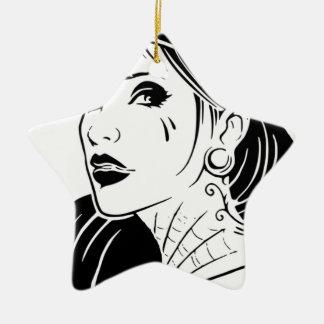 Gangster-Mädchen Keramik Stern-Ornament
