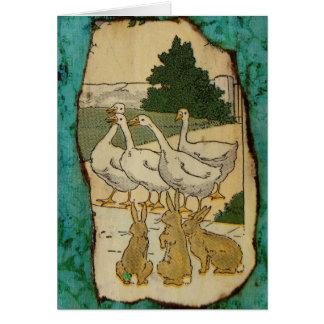 Gänse und Kaninchen Grußkarte