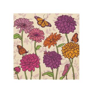 Gänseblümchen, Dahlie u. Schmetterling im Rosa, Holzleinwände