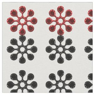 Gänseblümchen-Rad-(rotes und schwarzes) Gewebe Stoff