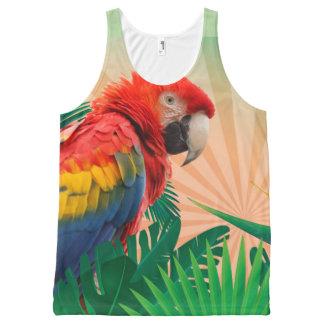 Ganz über tropischem Papageien-Fotografie-Druck Komplett Bedrucktes Tanktop