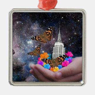Ganze Welt in meinen Händen Silbernes Ornament