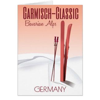 Garmisch klassisch, bayerisches Alpen-Skiplakat Grußkarte