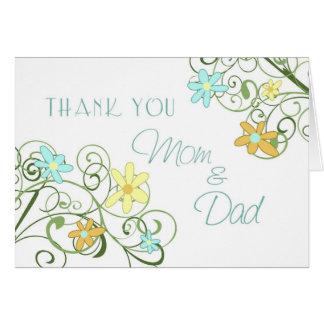 Garten-Blumen-Eltern-Hochzeits-Tag danken Ihnen zu Grußkarte