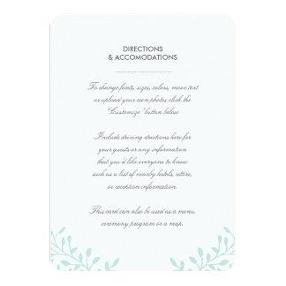 Garten-Hochzeits-Einsatz-Karte - Minze Karte