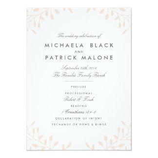Garten-Hochzeits-Programme - erröten Sie 14 X 19,5 Cm Einladungskarte