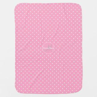 Gartennelken-rosa u. weiße Tupfen. Individueller Babydecke