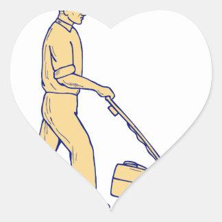 Gärtner-mähendes Rasenmäher-Zeichnen Herz-Aufkleber
