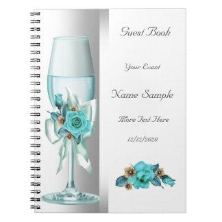 Gast-Buch-aquamarine weiße beige Rose Spiral Notizbuch