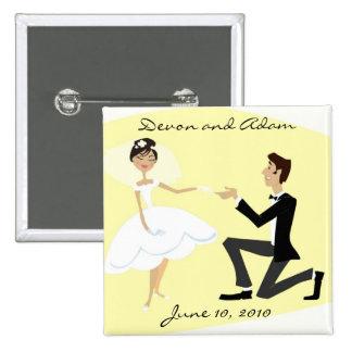 Gastgeschenk Hochzeits-Knopf Quadratischer Button 5,1 Cm
