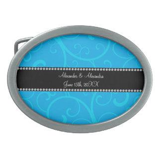 Gastgeschenke Hochzeitsblau-Wirbel Ovale Gürtelschnallen