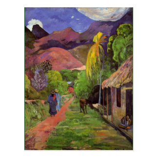 Gaugin - Straße in Tahiti Postkarte