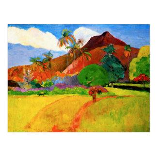 Gauguin Berge in Tahiti-Postkarte Postkarte