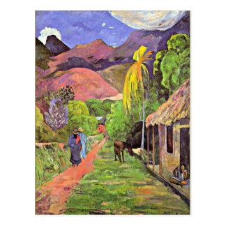 Gauguin - Straße in Tahiti Postkarte