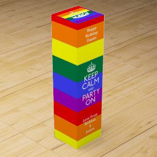 Gay Pride behalten Ruhe und Party auf Wein-Geschenkverpackung
