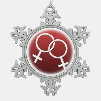 Gay Pride-Verzierungs-personalisierte lesbische Schneeflocken Zinn-Ornament