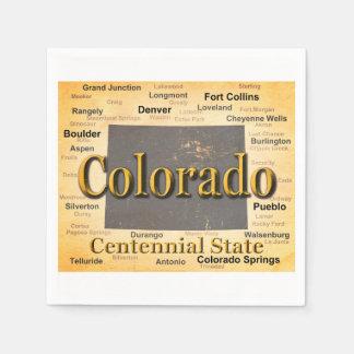 Gealterte Colorado-Staatsstolz-Karten-Silhouette Papierserviette