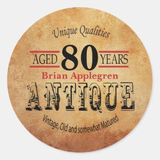Gealterter, antiker und Vintager 80. Runder Aufkleber