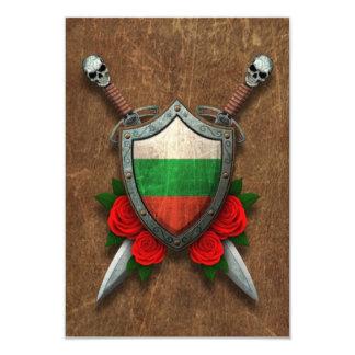 Gealtertes bulgarisches Flaggen-Schild und 8,9 X 12,7 Cm Einladungskarte