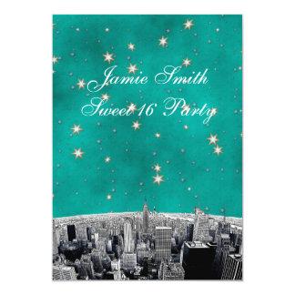 Geätzter Goldstern-Bonbon 16 V NYC Skyline-2 12,7 X 17,8 Cm Einladungskarte