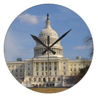 Gebäude Washington DCs der Capitol Hill Große Wanduhr