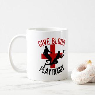 Geben Sie Blut-Spiel-Rugby lustigen Rugby-Sport Tasse