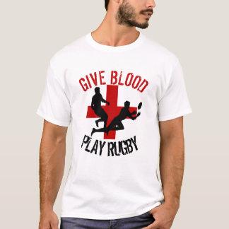 Geben Sie Blut-Spiel-Rugby-Spaß T-Shirt