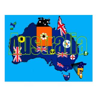 Gebiets-und Staats-Flaggen-Karte von Australien Postkarte