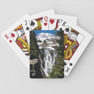 Gebirgswasserfall-Foto Spielkarten