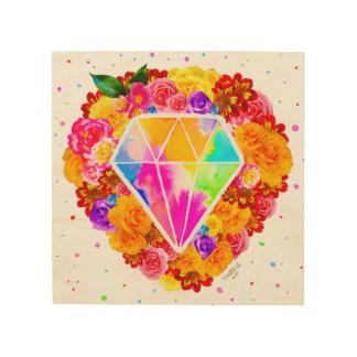 Geblühter Diamant Holzleinwand