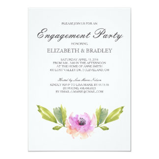 Gebürstetes Blüte  Watercolor-Verlobungs-Party 12,7 X 17,8 Cm Einladungskarte