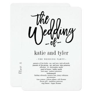 Gebürstetes Charme-Hochzeits-Zeremonie-Programm Karte