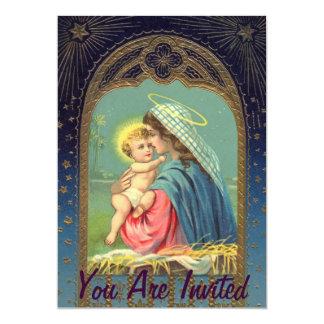Geburt Christi Mary, die das Baby Jesus hält 12,7 X 17,8 Cm Einladungskarte