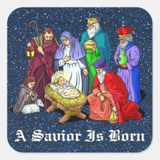 Geburt Christisaufkleber Quadrat-Aufkleber