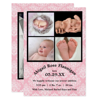 Geburt des Foto-Collagen-Rosa-Damask-3x5 kündigen 8,9 X 12,7 Cm Einladungskarte