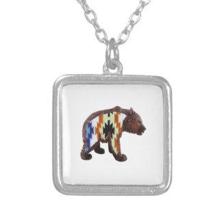 Gebürtiger Bär Halskette Mit Quadratischem Anhänger