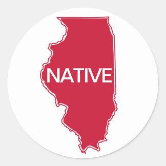 Gebürtiges rotes Weiß Illinois Runder Aufkleber