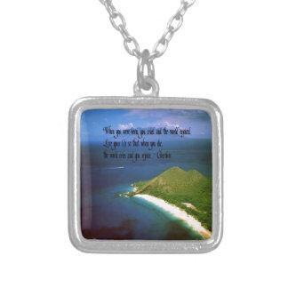 Gebürtiges Ureinwohner-Sprichwort Halskette Mit Quadratischem Anhänger