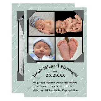 Geburts-Mitteilung der Foto-Collagen-Pfeil--3x5 8,9 X 12,7 Cm Einladungskarte