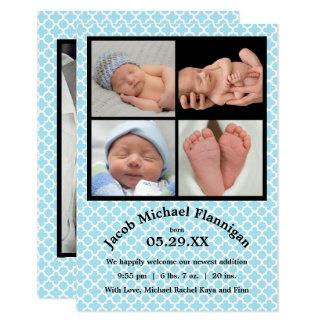 Geburts-Mitteilung des Foto-Collagen-blauen Karte