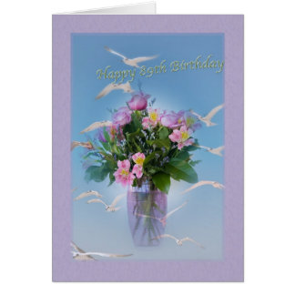 Geburtstag, 89., Blumen und Vögel Karte