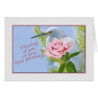 Geburtstag, 89., rosa Rose und Snowy-Reiher-Vogel Karte