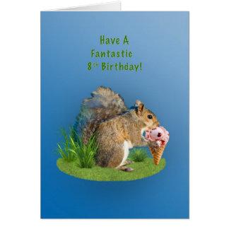 Geburtstag, 8., Eichhörnchen mit Eistüte Karte