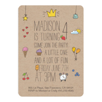 Geburtstag-Einladung für kleine Mädchen und Jungen 12,7 X 17,8 Cm Einladungskarte