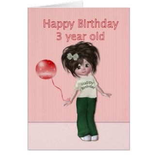 Geburtstag für das drei Jährig-Mädchen Grußkarte