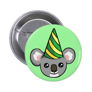 Geburtstag-Koala im Party-Hut, der Abzeichen Runder Button 5,7 Cm